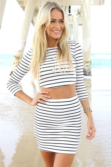 Pin stripe tube skirt