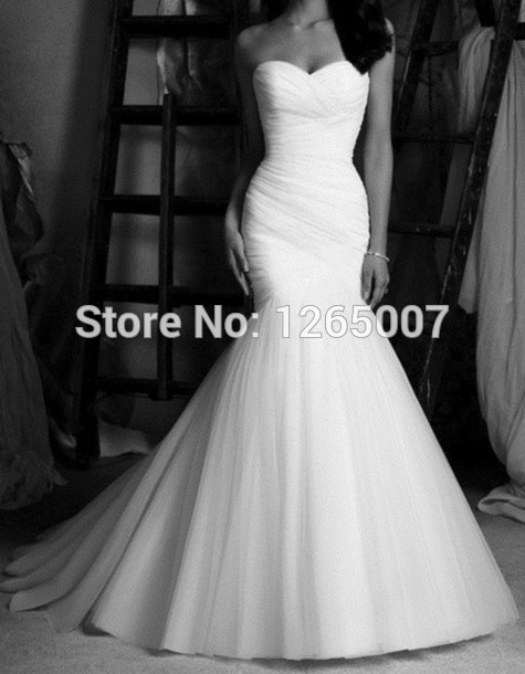 Aliexpress.com : Buy Fashion Sweetheart Criss Cross Ruffles White Tulle Mermaid Wedding Dresses Elegant New Fashion from Reliable fashion dresses plus size suppliers on SFBridal