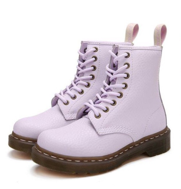 shoes girly boots ankle boots boot booties purple lilac DrMartens