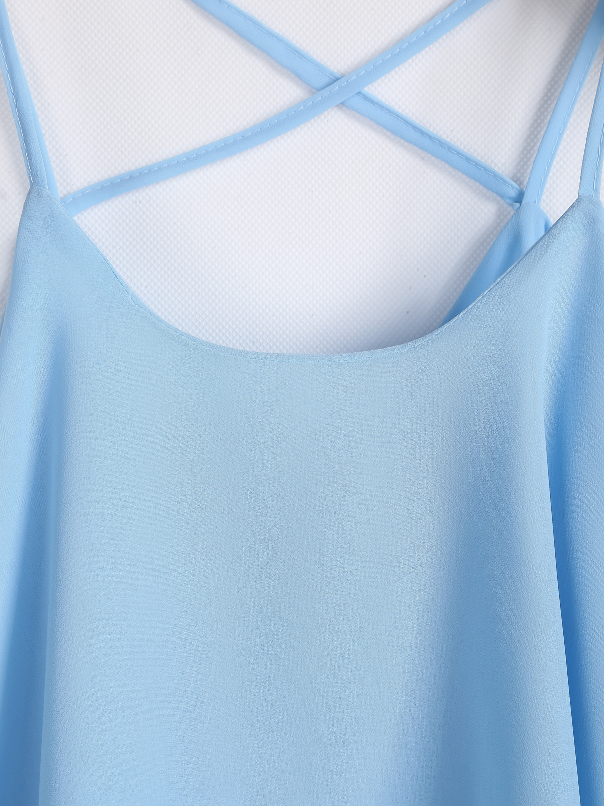 Blue Criss Cross Loose Chiffon Vest - Sheinside.com