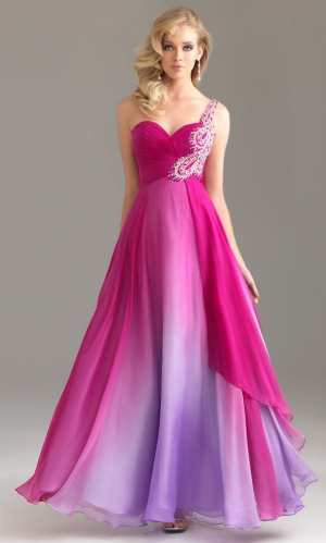 One Shoulder Long/Floor-length Chiffon Beading Floral Prom Dress PD364D at Dressmini.com