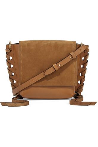 dark bag shoulder bag leather suede brown