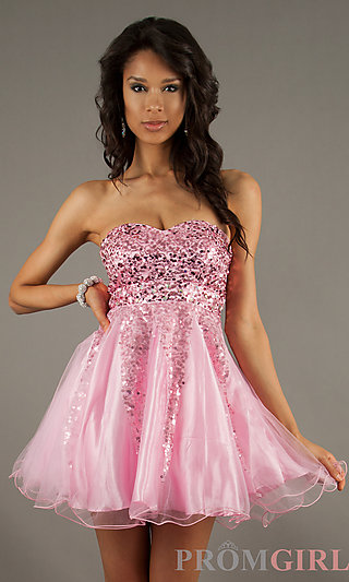 Prom Dresses, Celebrity Dresses, Sexy Evening Gowns - PromGirl: Short Sequin Strapless Sweetheart Dress