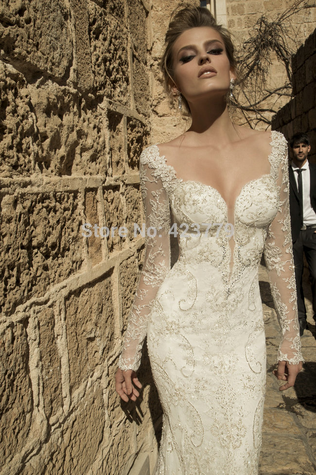 Aliexpress.com : Buy Sparkly Beaded Lace Mermaid Wedding Dress Sexy Low Backless Long Sleeves vestidos de noiva 2015 Bridal Gowns from Reliable gown pants suppliers on 27 Dress