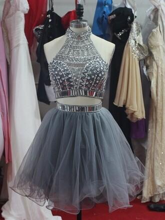 dress homecoming dress prom dress 2 piece prom dress sequin dress gray