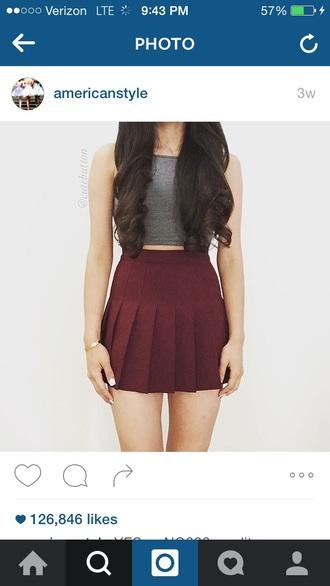 skirt skater skirt burgundy skirt circle skirt pleated skirt cute outfits crop tops grey top grey grey crop top burgundy