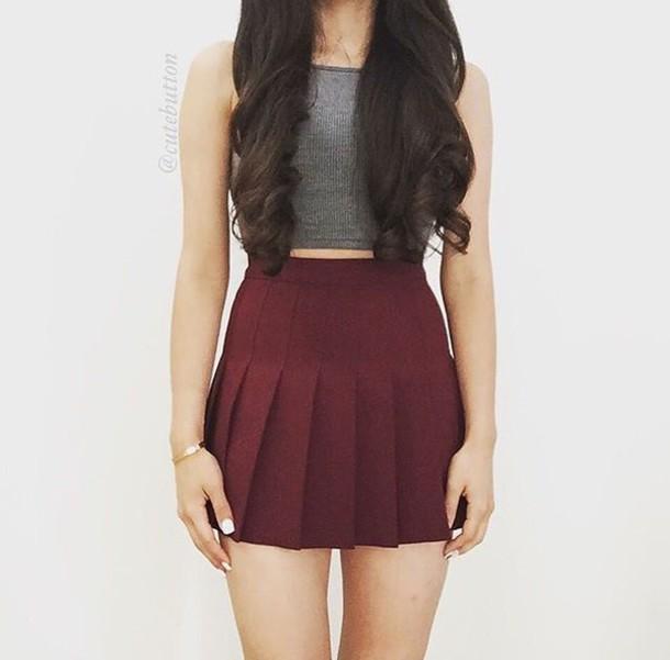 Skirt skater skirt burgundy burgundy skirt circle skirt pleated skirt cute outfits crop ...