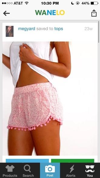 shorts pink summer fashion style white summer shorts