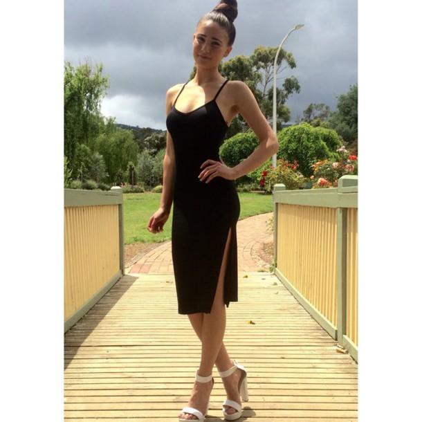 dress slit midi dress