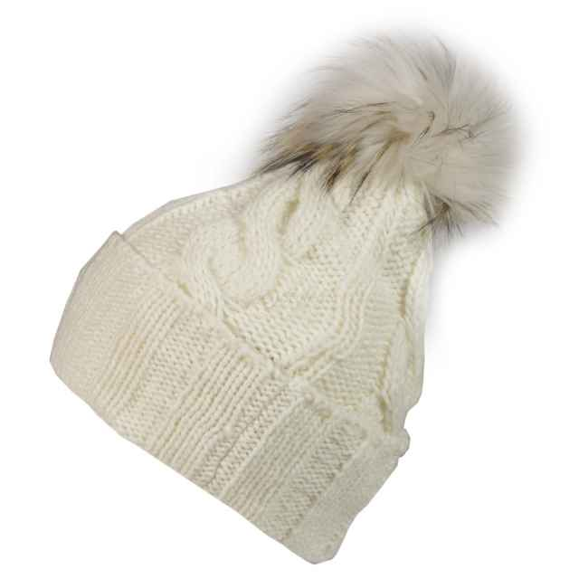 spicystyles.co.uk: CANADIAN CLASSICS Trecce bobble hat - white
