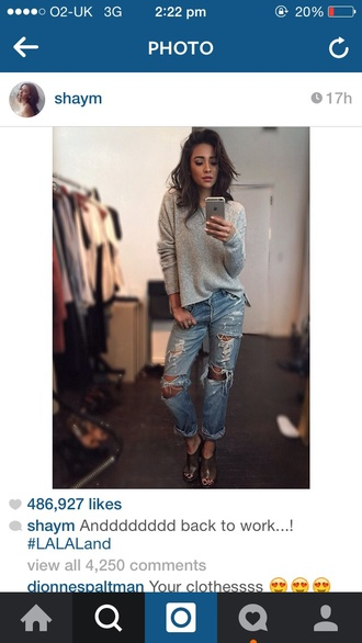 sweater shay mitchell celebrity style celebrity fashion style grey sweater jeans