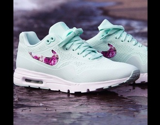shoes mint green shoes nike shoes floral shoes flowers instagram floral mint sneakers air max nike sneakers nike air cute summer