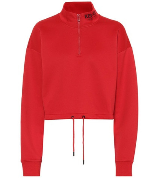 Kenzo Cropped cotton-blend sweatshirt in red