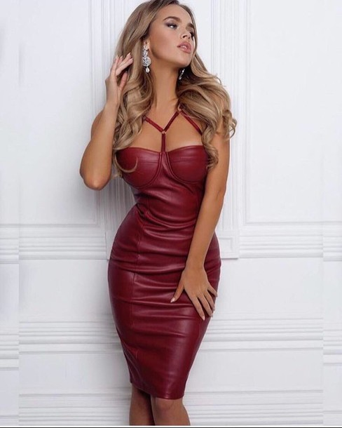 Dress Red Dress Red Burgundy Burgundy Dress Bustier