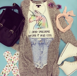 shirt unicorn cute colorful pastel rainbow cardigan knit horse pink girly underwear hat sunglasses sweater bag shoes jewels back to school socks tank top shorts forever 21 blue t-shirt unicorns l hipster hilarious awsomeness glasses unicorn tee quote on it summer summer outfits cool top hair accessory accessories silver silver chain chain backpack purse black purse black bag denim denim shorts donut socks grey cardigan unicorn shirt bookbag high waisted shorts head wrap head wear crewsocks i liked unicorns before it was cool white t-shirt color/pattern fashion style quote croptop awesome shirt clothes clothes white magic
