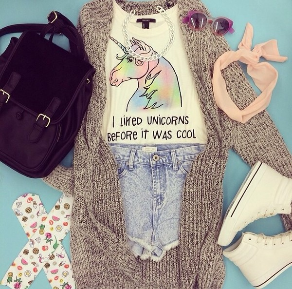 white top quote on it cardigan backpack black bag converse denim shorts unicorn
