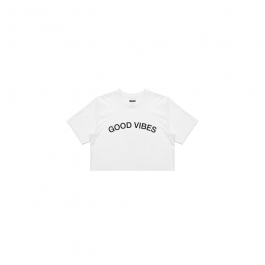 Good Vibes Crop White Tee