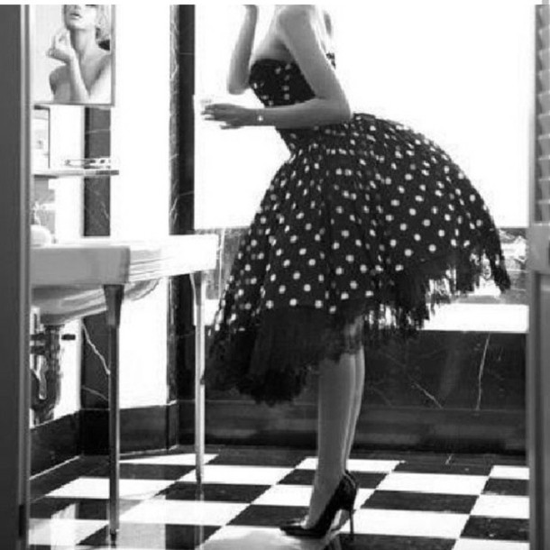 dress Pin up vintage petticoat old school rockabilly fit and flare dress polka dots polka dot skirt amazing classy 50s style black dress vintage dress