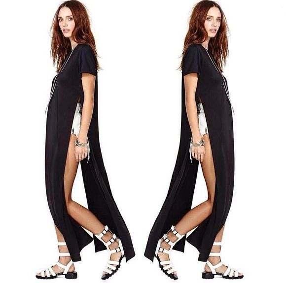nastygal urban outfitters edgy edgy style black tunic top black shirt black shirts white dress swimwear t shirt dress t-shirt side slit side split side split maxi dress long t-shirt long top white dress aliexpress free shipping beach cover up t-shirt