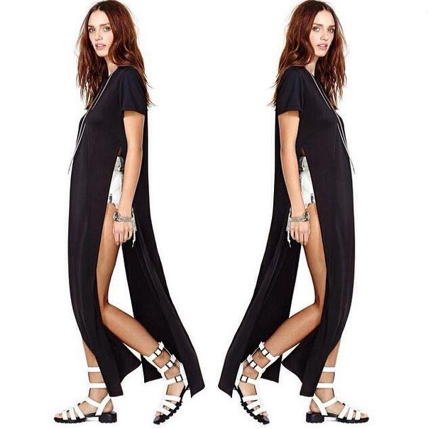 677d1118f dress t-shirt dress t-shirt side slit side split side split maxi dress