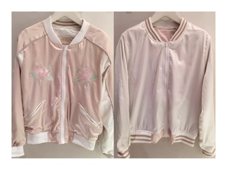 jacket one spo larme kei pink jacket pink pink satin baby pink kawaii trendy japan jp japonese fashion korean fashion onespo larmekei fairy kei vintage satin varsity jacket school jacket satin bomber bomber jacket varsity jackets adidas varsity jacket varsity