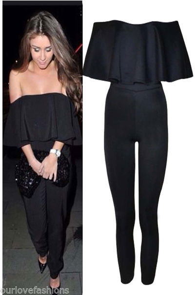 New ladies celebrity ruffle frill off shoulder bandeau jumpsuit womens playsuit