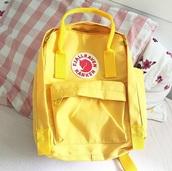 bag,girly,girly wishlist,yellow,backpack,fjallraven kanken,Fjallraven