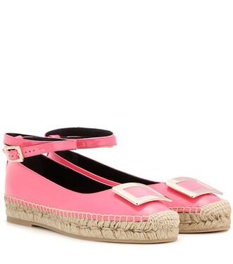 embellished espadrilles leather pink shoes