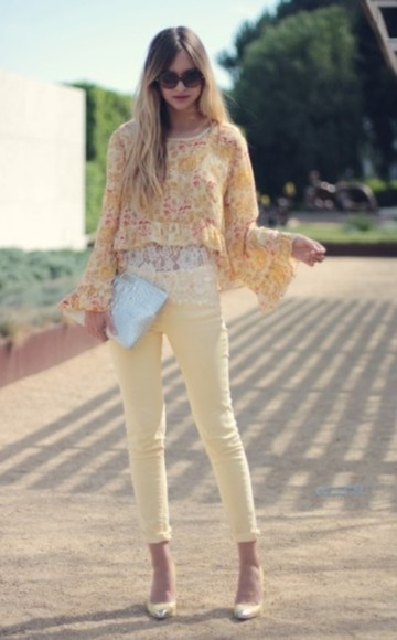 yellow pants pants floral spring