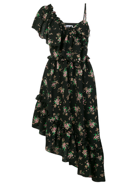 MSGM dress asymmetrical women floral black