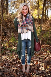 sweater,green,cardigan,green carigan,fall outfits,jeans,scarf,plaid,i need this whole outfit