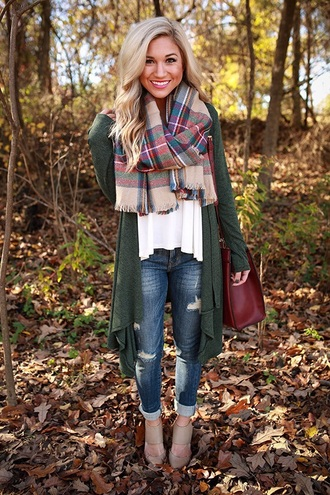 sweater green cardigan green carigan fall outfits jeans scarf plaid i need this whole outfit