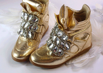 shoes gold wedge wedges crystal quartz diamonds