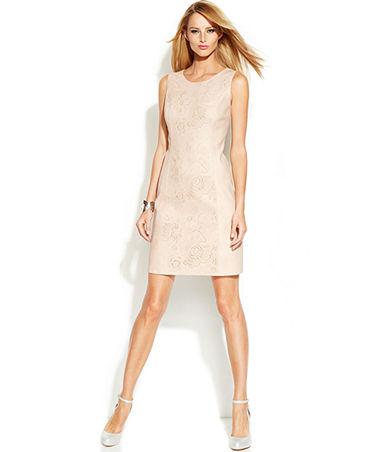 INC International Concepts Laser-Cut Faux-Leather Sheath Dress - Dresses - Women - Macy's