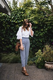 pants,tumblr,gingham,sandals,sandal heels,high heel sandals,work outfits,office outfits,top,white top,bag,shoes
