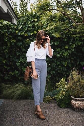 pants tumblr gingham sandals sandal heels high heel sandals work outfits office outfits top white top bag shoes