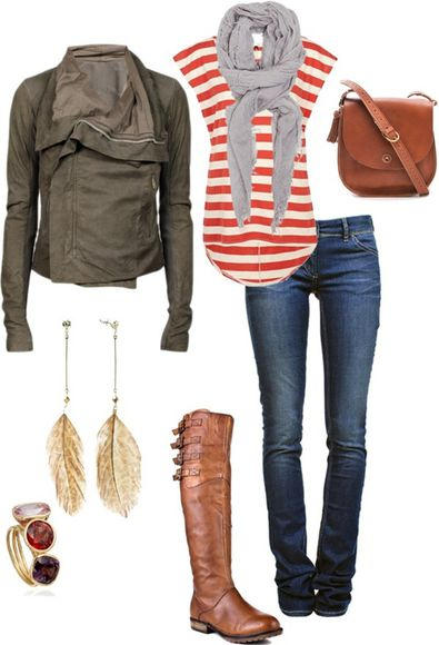 orange blouse jacket boots shirt grey scarf earrings scarf striped shirt jeans cute fall fashion jewels