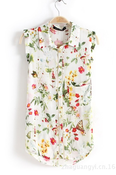 White Floral Print Sleeveless Chiffon Blouse