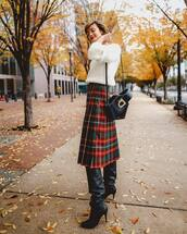 bag,black bag,plaid skirt,black boots,knee high boots,white sweater