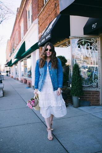 sequins and stripes blogger dress shoes jacket bag sunglasses make-up denim jacket sandals