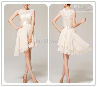 dress short wedding dress asymmetrical lace details elegant