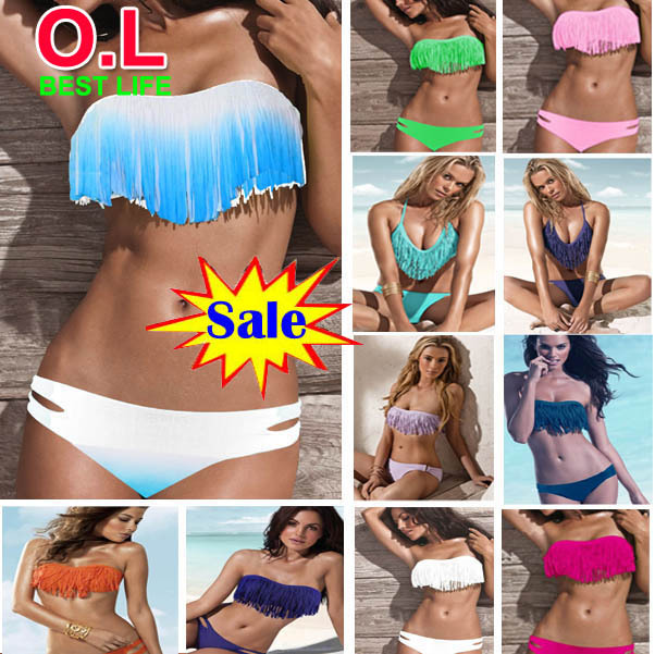 2013 newest fashion sexy women bikini swimwear padded boho fringe tassel swimsuit  21 colors s/m/l #ol038