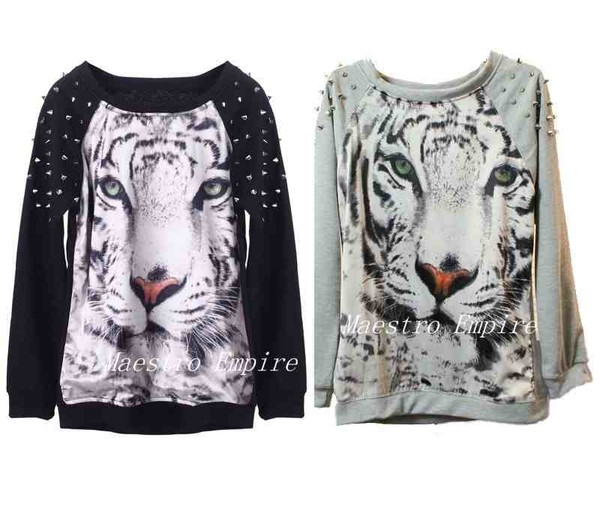 sweater tiger black white studs spikes cats