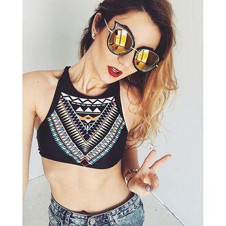top zaful sunglasses black print fashion style crop tops