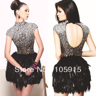 feathers dress feather dress shorts short dress crystal cocktail dress prom dress clothes women style evening dress homecoming dress gorgeous fashion beaded open back prom dress backless dress backless prom dress