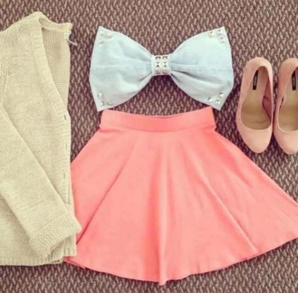 tank top clothes cute bow bows denim skirt orange coral shoes high heels fluo vest beige creme stylish fashion elegant