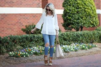 twopeasinablog blogger top jeans sunglasses shoes louis vuitton bag wedges white top spring outfits