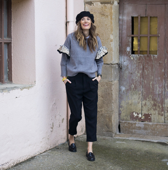 rebel attitude blogger sweater pants shoes winter outfits beret loafers fall outfits