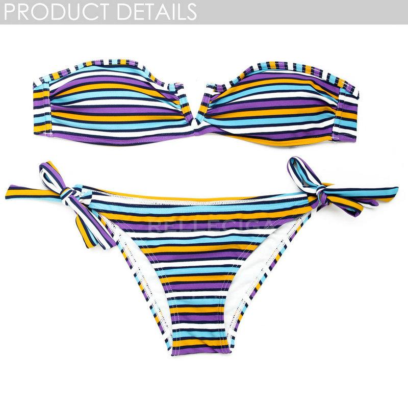 "2014 new bathing suit! relleciga purple/white multicolor stripe bandeau top with a sexy open ""v"" wire at center front bikini swi"