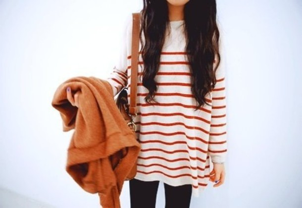 Sweater: red, white, stripes, cool, oversized sweater - Wheretoget